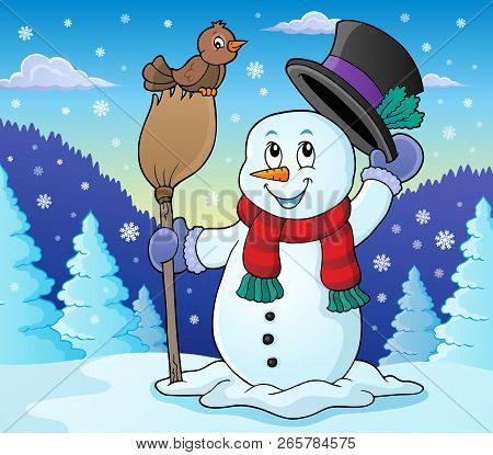 Winter Snowman Subject Image 2 - Eps10 Vector Illustration.