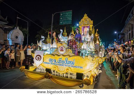 Chiang Mai, Thailand - November 04, 2017 : Unidentified Peoples Are In Parade Decorate Car With Ligh