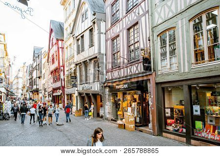 Rouen, France - September 03, 2017: Ancient Half-timbered Houses On The Street Of The Old Town In Ro