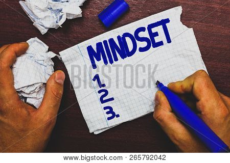 Handwriting Text Writing Mindset. Concept Meaning Established Set Of Attitudes Held By Someone Posit