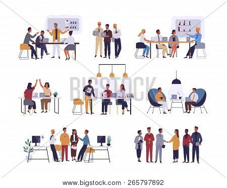 Collection Of Scenes At Office. Bundle Of Men And Women Taking Part In Business Meeting, Negotiation