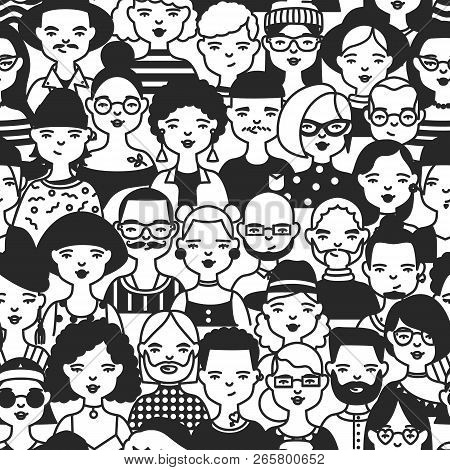 Monochrome Seamless Pattern With Faces Or Heads Of People. Backdrop With Stylish Men And Women Drawn