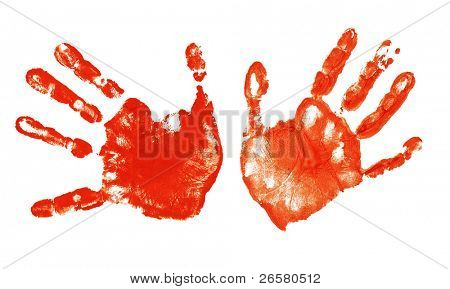 Spooky hands print isolated on white background
