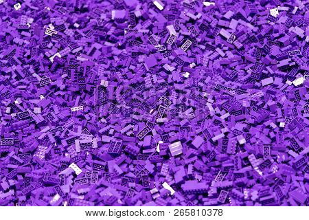 Many Purple Plastic Toy Block For Texture Background