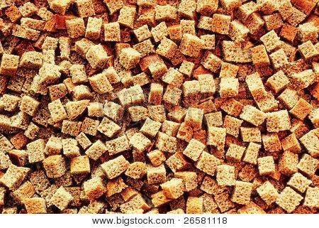 Texture of small pieces dried bread