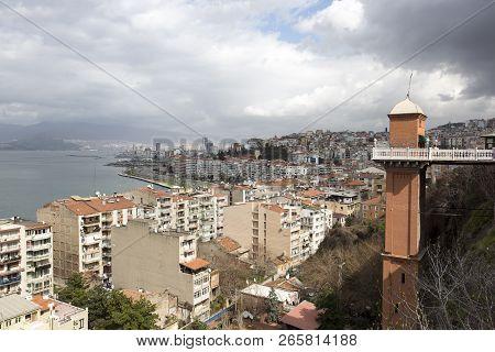The Historical Elevator In Konak District, Izmir, Turkey. Beautiful View Of Izmir With Historical El