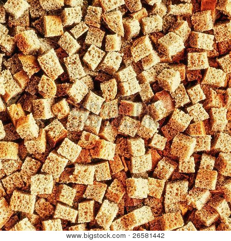 Texture of small pieces of dried bread