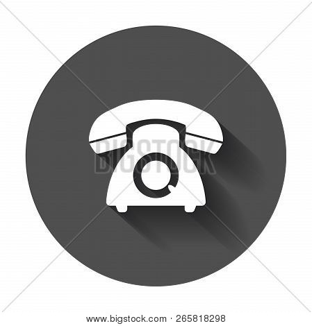 Phone Vector Icon. Old Vintage Telephone Symbol Illustration Wit
