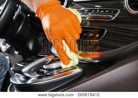 A Man Cleaning Car With Microfiber Cloth. Car Detailing. Selective Focus. Car Detailing. Cleaning Wi
