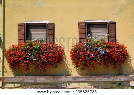 View Of House Windows With Shutter And Balcony In The Old Town Venice Italy