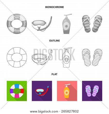 Isolated Object Of Pool And Swimming Sign. Collection Of Pool And Activity Stock Vector Illustration
