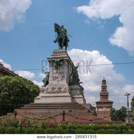 Milan, Italy - 09 May 2018: Statue Of Giuseppe Garibaldi On Caioli Square. The Monument Depicts Gari