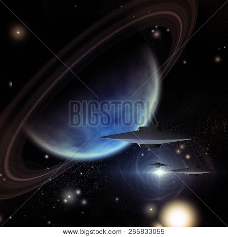 Alien Space Crafts Near Giant Ringed Planet. 3D rendering