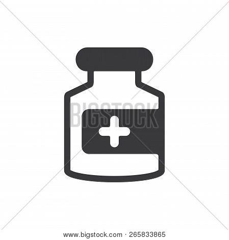 Medicine Bottle Vector Icon On White Background. Medicine Bottle Icon In Modern Design Style. Medici