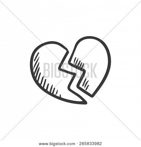 Broken Heart Vector Icon On White Background. Broken Heart Icon In Modern Design Style. Broken Heart