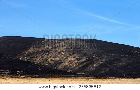 California Drought Parched Brown Fields With Fire Scorched Hills In The Background. Blue Cloudy Sky.