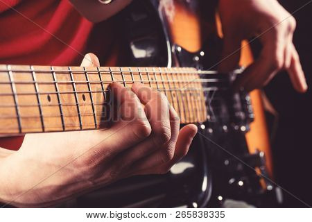 Electric Guitar, Guitarist, Musician Rock. Musical Instrument. Guitars, Strings. Music Concept. Guit