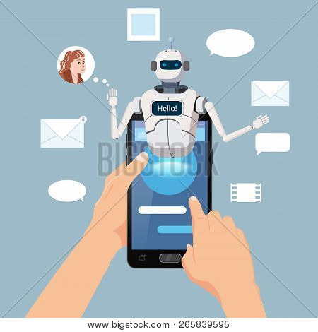 Hands Hold Smartphone Free Chat Bot, Robot Virtual Assistance On Smartphone Say Hello Element Of Web