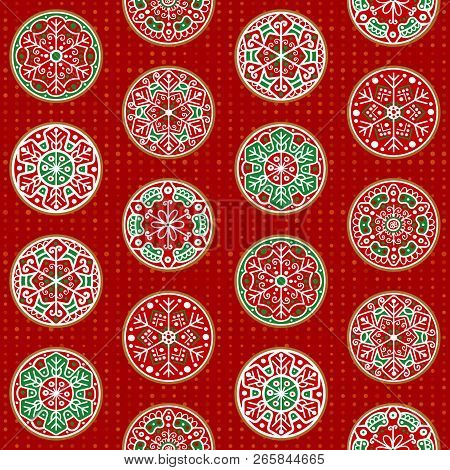 Set Of Festive Hand-drawn Christmas Snowflake Decorations Designs. Eight Snowflake Roundels Collecti