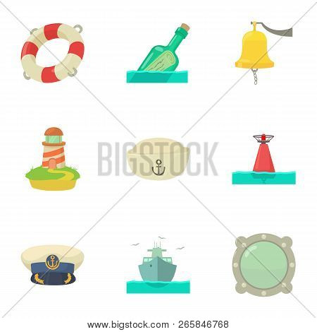 Creek Icons Set. Cartoon Set Of 9 Creek Vector Icons For Web Isolated On White Background