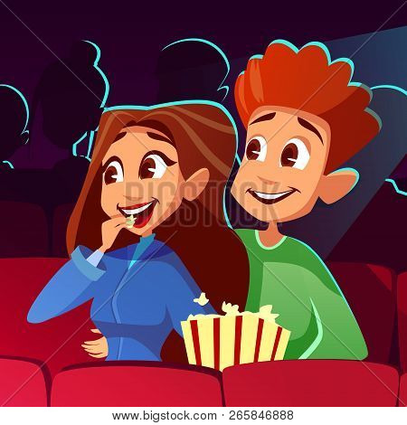 Couple In Cinema Illustration Of Young Boy And Girl Watching Movie Together. Cartoon Teens Or Man An