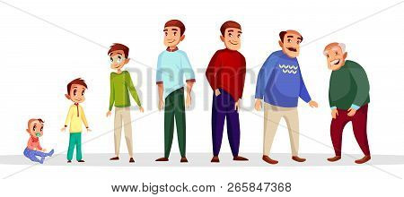 Cartoon Male Character Growth And Aging Process. Happy People - Toddler Baby Kid, Teenager In Glasse