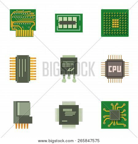 Chip Circuit Icons Set. Cartoon Set Of 9 Chip Circuit Vector Icons For Web Isolated On White Backgro