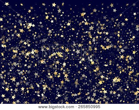 poster of Gold falling star sparkle elements of glitter gradient vector background. Flying confetti gold stars falling glitter gradient sparkles on dark blue. New Year starburst fireworks backdrop.