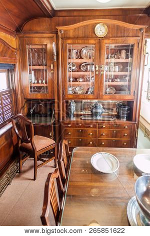 Havana, Cuba - Feb 23, 2016: Interior Of Coche Mambi, Presidential Train Carriage Exhibited In Havan