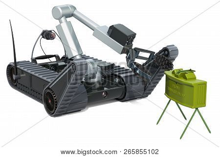 Bomb Disposal Robot With Anti-personnel Mine, 3d Rendering Isolated On White Background