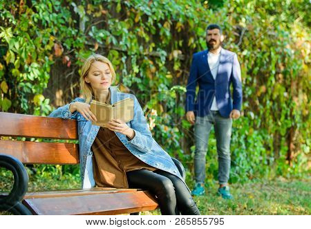 Park Best Place For Romantic Date. Couple In Love Romantic Date Nature Park Background. Girl Sit Ben
