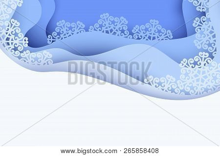 Paper Art Winter Background With Blue Paper Snowflakes. Merry Christmas And New Year Greeting Card.