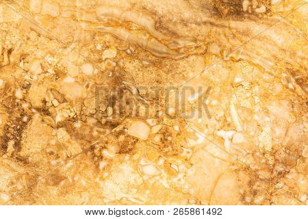 Natural Marble Stone Texture In Warm Colors. Background With Small Waves And A Round Pattern. Brown,
