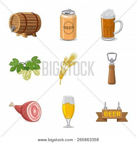 Vector Illustration Of Pub And Bar Sign. Collection Of Pub And Interior Vector Icon For Stock.