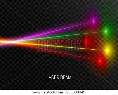 Colorful Laser Beam Set Isolated On Transparent Background. Neon Lines In Speed Motion. Laser Beam C