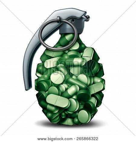 Dangerous opioids crisis and prescription painkiller addiction risk and epidemic concept as a group of pills shaped as a hand grenade bomb as a medical addict problem as a 3D illustration. poster