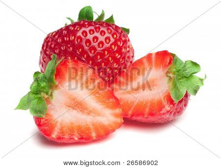 Isolated strawberries