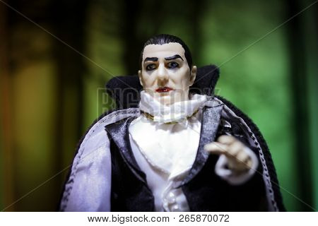 OCT 27 2018: Bela Lugosi as Count Dracula in the haunted forest - Mego action figure
