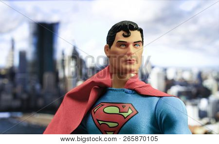 OCT 27 2018:  Portrait of Superman with Metropolis in the distance - DC Comics - Mego action figure