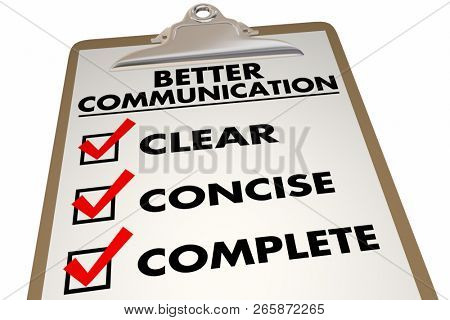 Better Communication Checklist Clear Concise 3d Illustration