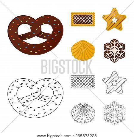 Vector Illustration Of Biscuit And Bake Symbol. Collection Of Biscuit And Chocolate Vector Icon For