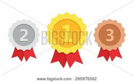 Gold, Silver, Bronze Medal. 1st, 2nd And 3rd Places. Trophy With Red Ribbon. Flat Style - Stock Vect