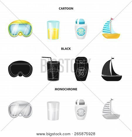 Vector Illustration Of Equipment And Swimming Symbol. Set Of Equipment And Activity Vector Icon For