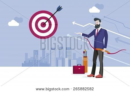 Archery And Business Man. Business Man Hitting His Target. Concept Business Success Vector Illustrat