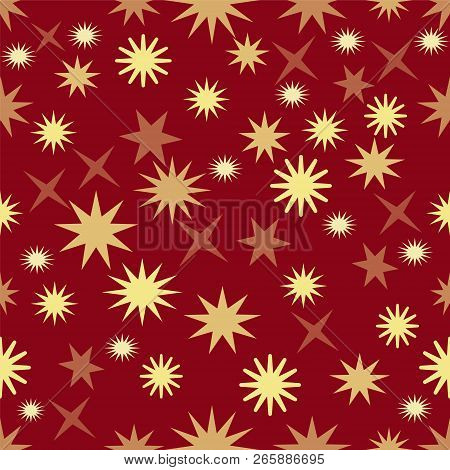 Seamless Dark Red Background With Gold Stars, Christmas Background Wallpaper, Elegant Xmas Wrap Pape