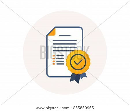 Certificate Diploma Icon. Graduation Document With Medal Sign. Education Certification Diploma Symbo