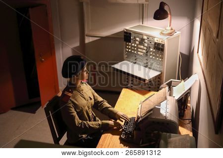 MOSCOW - JAN 6, 2018: Cipher dummy in room in Bunker 42 Museum of the Cold War - military history museum and entertainment complex was founded in 2006