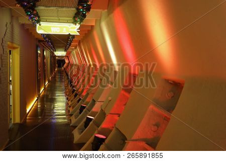 MOSCOW - JAN 6, 2018: Hallway with illumination in Bunker 42 Museum of the Cold War - military history museum and entertainment complex was founded in 2006