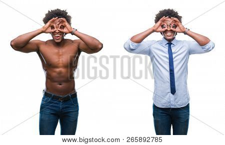 Collage of african american shirtless and business man over isolated background doing ok gesture like binoculars sticking tongue out, eyes looking through fingers. Crazy expression.