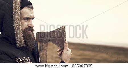 Lumberjack. Bearded Man. Brutal Man With Long Beard.handsome Man Hipster Or Guy With Beard And Moust